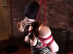 submissive oriental lady with huge breasts gets her booty stre