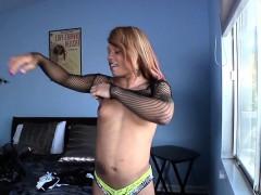 Tattooed Black Tgirl Tugging Her Hard Cock