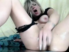 Pretty Blonde Whore Masturbates Until She Squirts