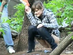 pissing-whore-in-woods-nasty