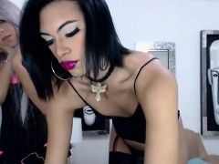 Shemale Tranny In Lingerie Ass Fingered By Horny Babe