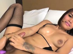 Sexy Thai Ladyboy Jakki Fucks Her Asshole With A Dildo