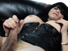 leather-lingerie-tgirl-tugging-cock-on-couch