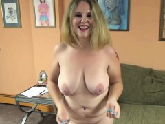 Curvy cutie Dani Arcadia is giving a blowjob to a stranger