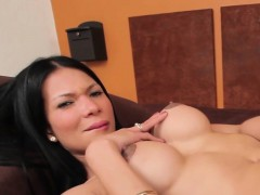 Busty latina tgirl spreads cheeks and tugs