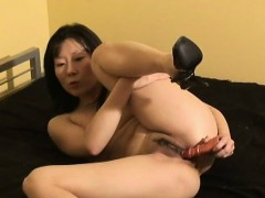 asian wife wears only heels while toying her trimmed muffin