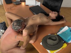 Caught Grandpa Having Sex With Young Brunette At Job