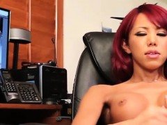 Red Head Transbabe Jerks Her Cock In Solo