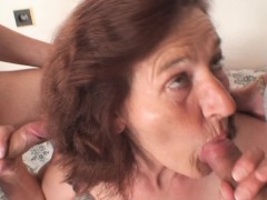 old slut is penetrated by two young dudes