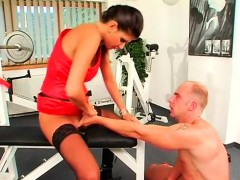 sultry headmistress dominates guy