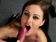 british leather babe sucking maledom