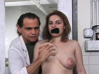 Savage tit thrashing for this bounded chubby slut