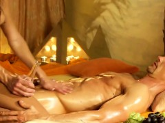 She Jerks Him With A Sensual And Romantic Massage