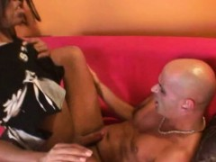 Black Shemale With A Bbc Dominates A Bald Hunk