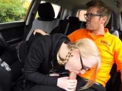 Satin Spank pounded by her pervert driving instructor
