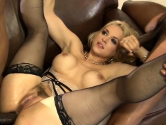 massive hooters blond girl analyzed by big black cocks