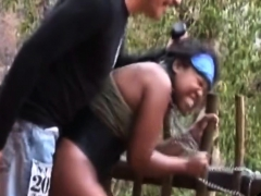 Black Chicks Pounded Outdoors