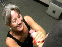 Mature Bosslady Facialized After Wanking Teen