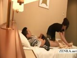 Subtitled Japan masturbation in front of milf masseuse
