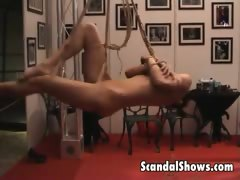 Hot girl gets tied up at strip show