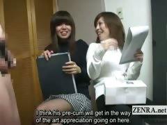 Subtitled weird Japanese CFNM erection art class sketch