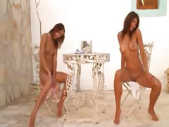 Two italian chicks naked outdoor