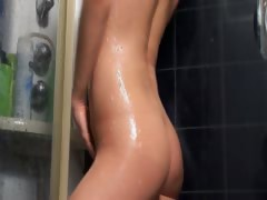 Girlfriend Soaping Up Her Body In Shower