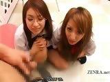 Subtitled CFNM POV Japanese schoolgirls penis checkup