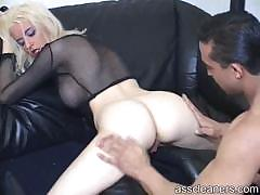 Blonde's Ass Hole Is Cleaned Using Slave's Tongue