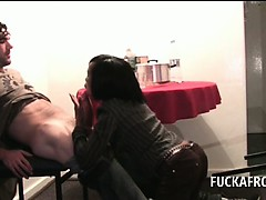 Afro Slutty Brunette Blowing White Penis On Her Knees