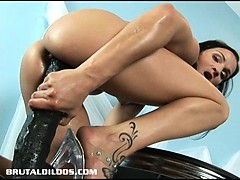 petite european brunette filling her tight vagina with a