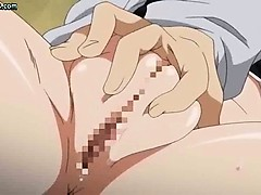 Shy anime babe gets pussy pleasured