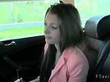 Cute brunette fucked in fake taxi in woods