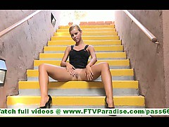 Jessi Incredibly Hot Blonde Flashing And Toying Pussy In