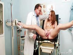 Redhead Denisa Gyno Pussy Speculum Examination At Clinic