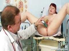 Mature Olga Has Her Redhead Hairy Pussy Gyno Speculum
