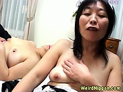 Asian Granny French Maid Group Toying
