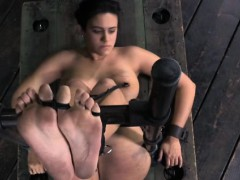 Nipple Clamped Slut Getting Caned