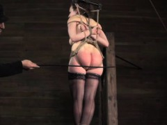 Ball Gagged Sub Vertically Restrained