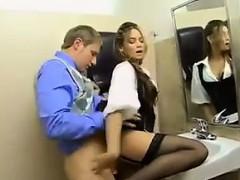Latina Fucked In The Office Washroom