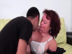 Busty Mature Babe Strips For Sex On The Couch