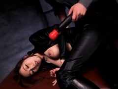 Asian Leather Fetish Babe With Bigtits Toyed