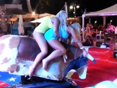 Blondes Riding On A Mechanical Bull