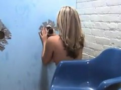 big titted blonde beauty and a glory hole