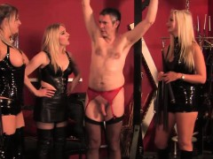 Teasing Topless Femdoms In Latex Flogging Sub