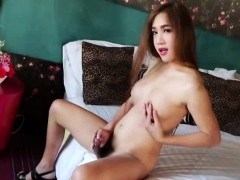 Cute Asian Tgirl Nut Strokes Her Hard Cock