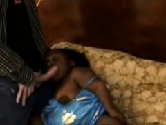 Horny Perv Makes Filthy Ebony Midget Suck His Dick