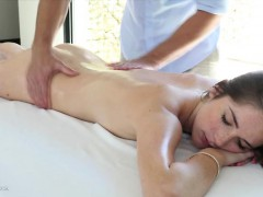 pretty-brunette-finger-banged-on-portable-massage-table