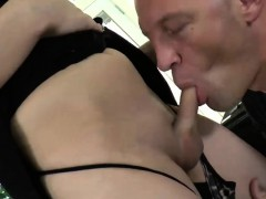 Booby Tranny Gets Her Asshole Wrecked By Bald Guy On The Bed