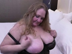 fully shaved fat mature lady toying her twat